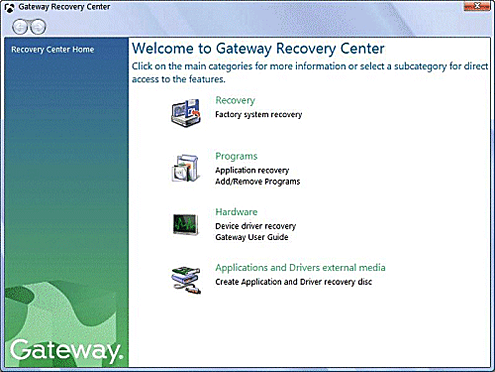 Gateway Recovery Centre in Windows Vista