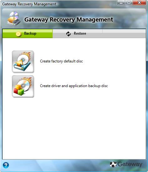 Gateway Recovery Management in Windows 7