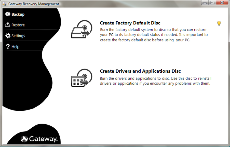 The Gateway Recovery Management software