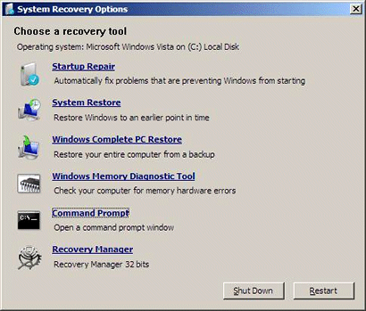 The Gateway Recovery Manager item at System Recovery Options