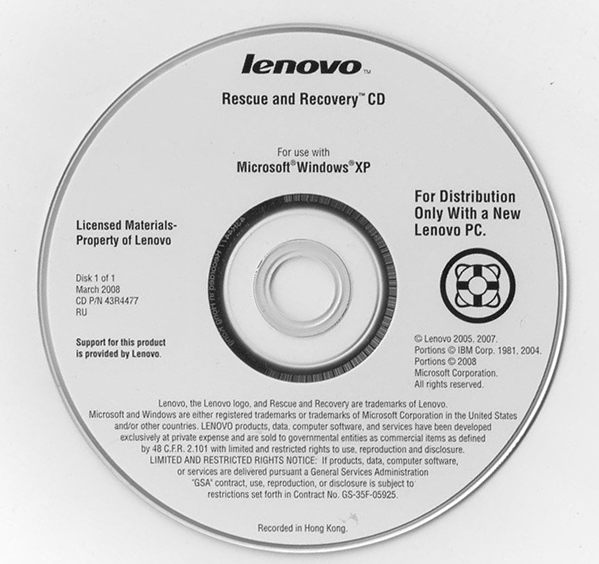 The Lenovo Rescue and Recovery CD for Windows XP