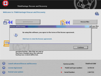 License agreement message in Lenovo ThinkVantage software