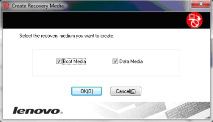 Boot Media and Data Media options on Lenovo ThinkVantage software