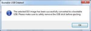 This message box is displayed once Easy USB Creator has finished creating your bootable USB stick.