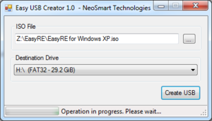 Easy USB Creator will begin to create your USB from the selected ISO image.