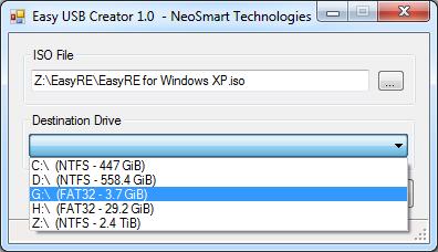 Creating a bootable USB with Easy USB Creator