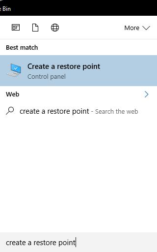 Create restore point Windows 10