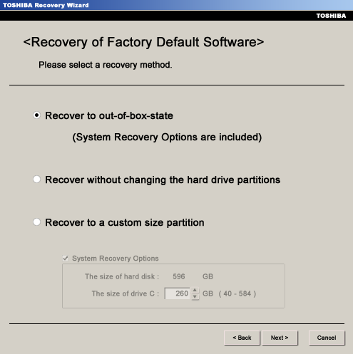 Toshiba Recovery out-of-box state