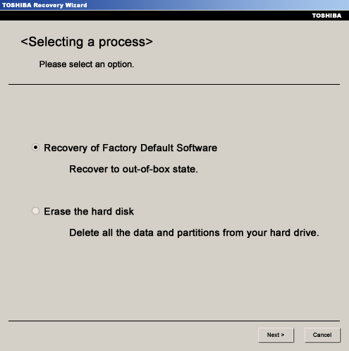 Toshiba Recovery of Factory Default Software