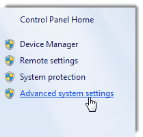 Windows 7 System Protection in Control Panel