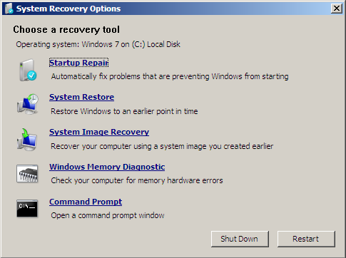 Windows 7 System Recovery Options Screen