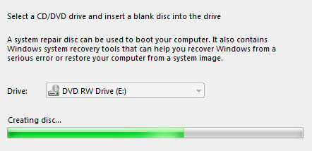 Windows 7 - Create disc progress bar