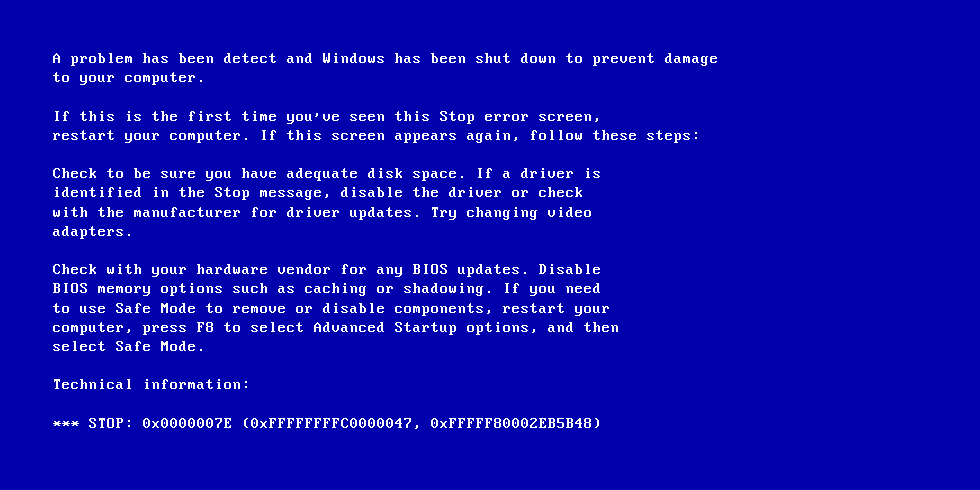 new windows blue screen of death
