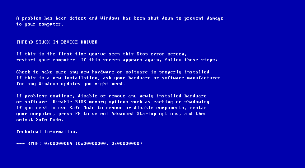 Blue screen when updating windows 7