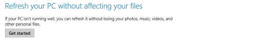 The Refresh your PC option in Windows 8