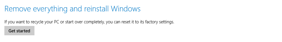 The Remove everything option in Windows 8