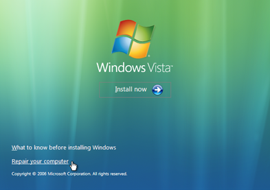 Windows Vista Repair Your Computer Menu