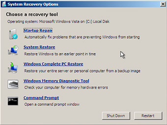 System Recovery Options on Windows Vista