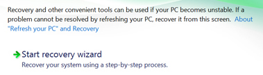 Start Recovery Wizard in VAIO Care Rescue