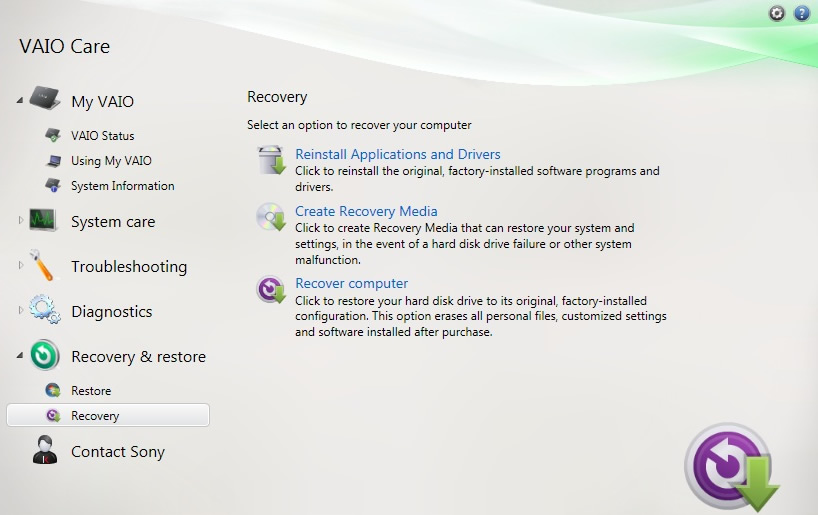 how to factory reset sony vaio e series windows 7