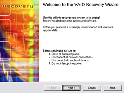 VAIO Recovery Disk – Guide for Windows XP, Vista, 7, 8
