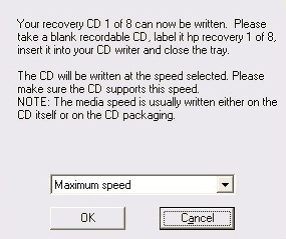 Compaq Recovery CD-DVD Creator screen