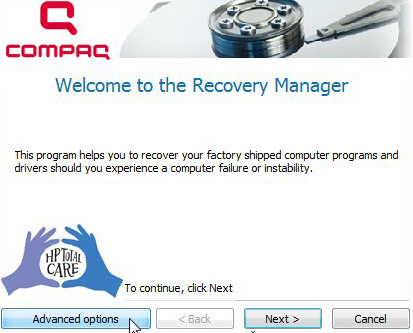 Compaq - Welcome to Recovery Manager