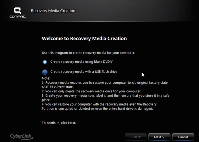 Compaq Recovery Media Creation - Screen #1