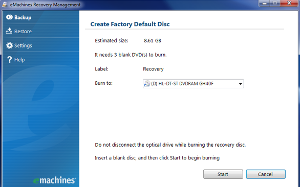 emachines recovery management