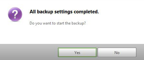 Backup settings completed in Samsung Recovery Solution 5