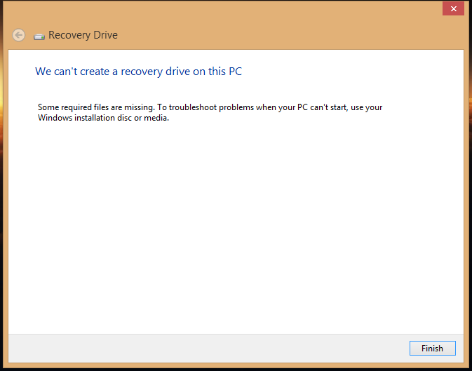 We can't create a recovery drive on this PC