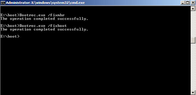 Bootrec in Command Prompt