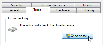 Windows 7 - Error checking in My Computer