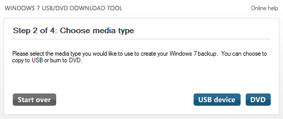 Windows 7 USB/DVD Download Tool: Choose Media Type