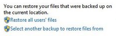 Select another backup to restore from
