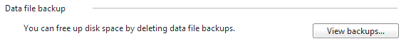 View Backups button in Windows 7
