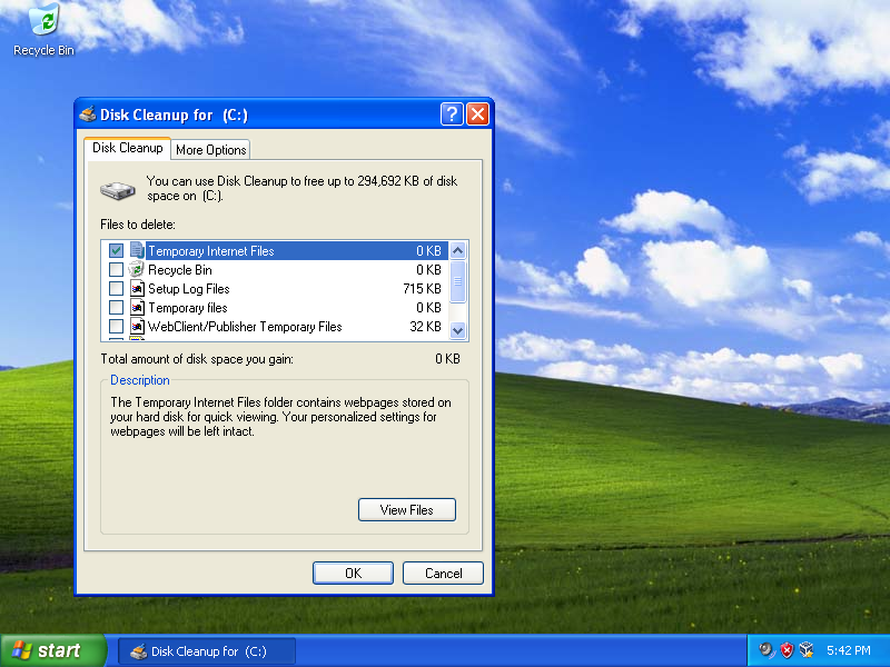 Windows XP Disk Cleanup screen