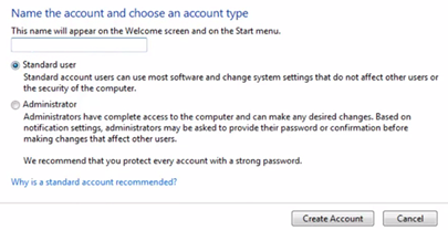 Choose Account Type for New User in Windows Vista/7