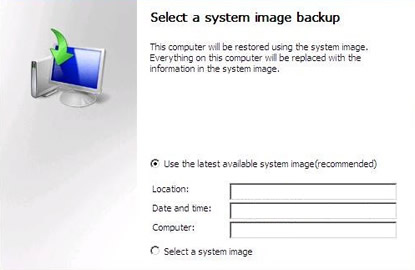 Windows Server 2008 - Select system image backup