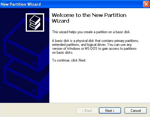 Windows XP: New Partition Wizard