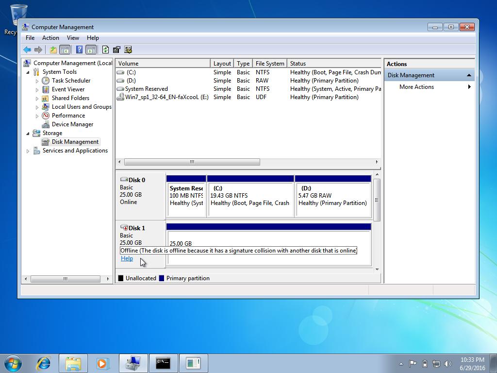 Disk is offline, signature collision error screen