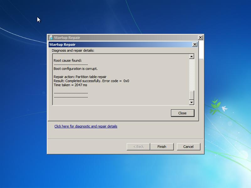 Disk signature error collision fixed by Windows Startup Repair
