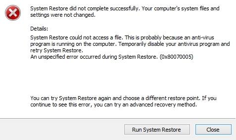System Restore error on Windows 8