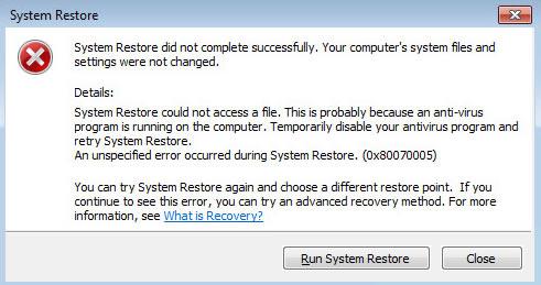 System Restore error on Windows Vista or 7