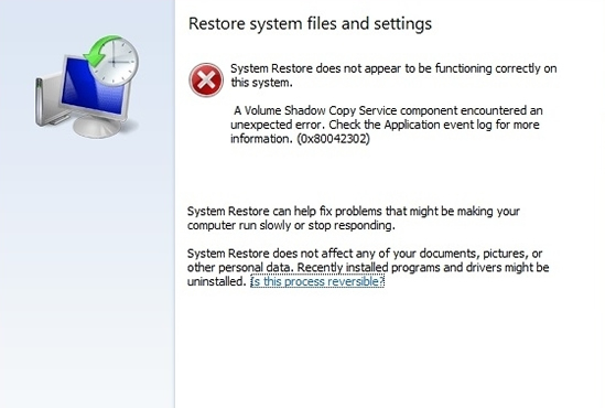 0x80042302 in System Restore Window