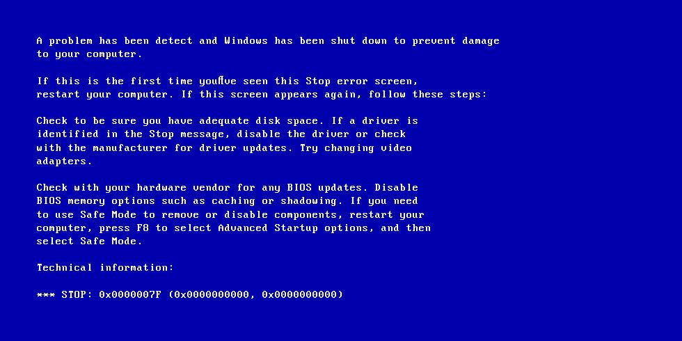 0x0000007F error screen