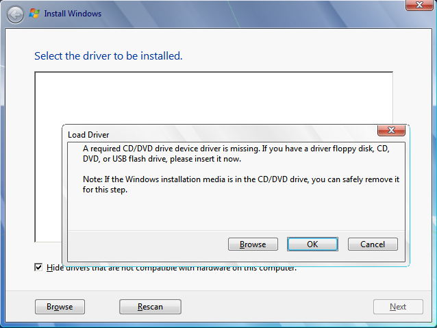 load a cddvd driver for windows setup to proceed a required driver